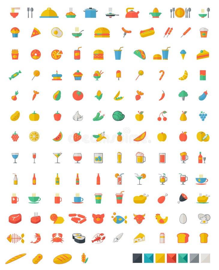 Jedzenia i napojów mieszkania ikony ilustracja wektor