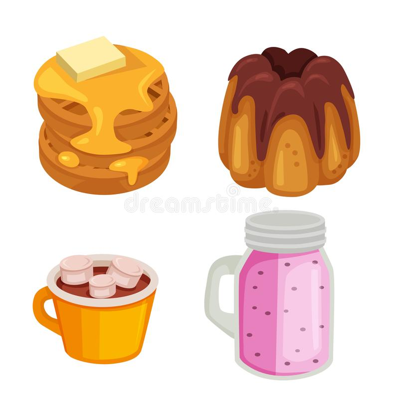 Jedzenia i napoju blinu słodki set ilustracji