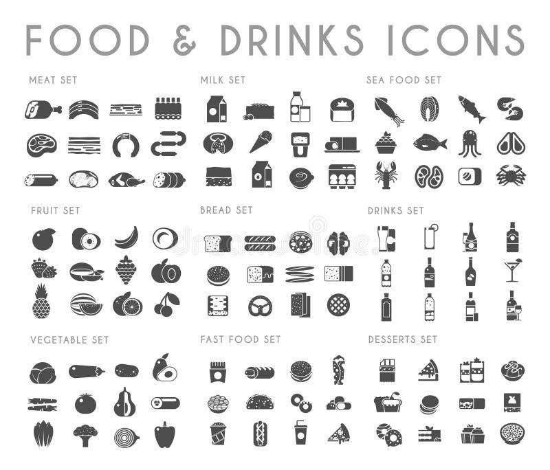 Jedzenia i napoju czarne wektorowe ikony ustawiać royalty ilustracja