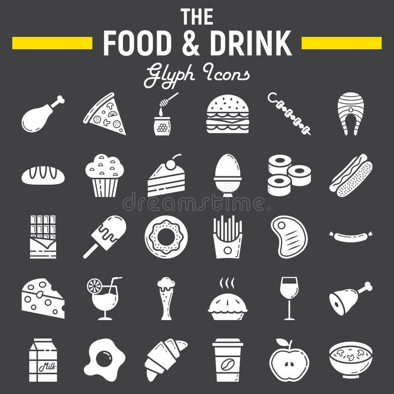 Jedzenia i napoju glifu ikony set, posiłków znaki royalty ilustracja