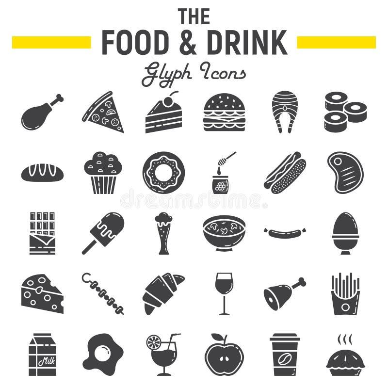 Jedzenia i napoju glifu ikony set, posiłków znaki ilustracja wektor
