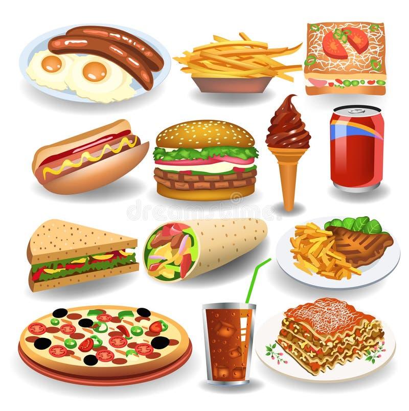 Jedzenia i napoju ikon kolekcja odizolowywająca na białym tle ilustracja wektor