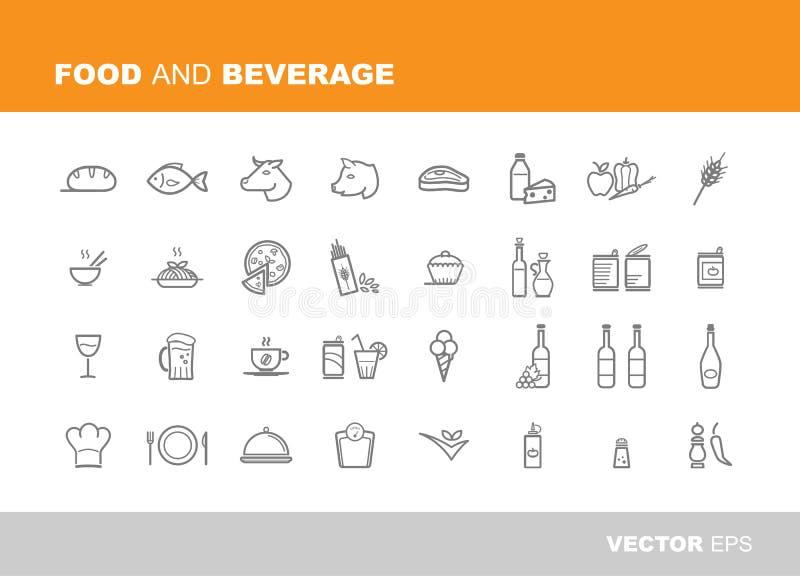 Jedzenia i napoju ikony royalty ilustracja