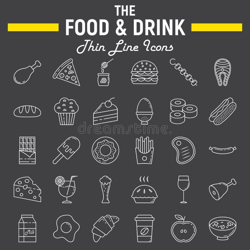 Jedzenia i napoju ikony kreskowy set, posiłek szyldowa kolekcja royalty ilustracja