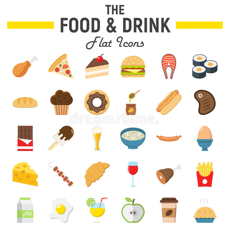 Jedzenia i napoju ikony płaski set, posiłków znaki ilustracja wektor
