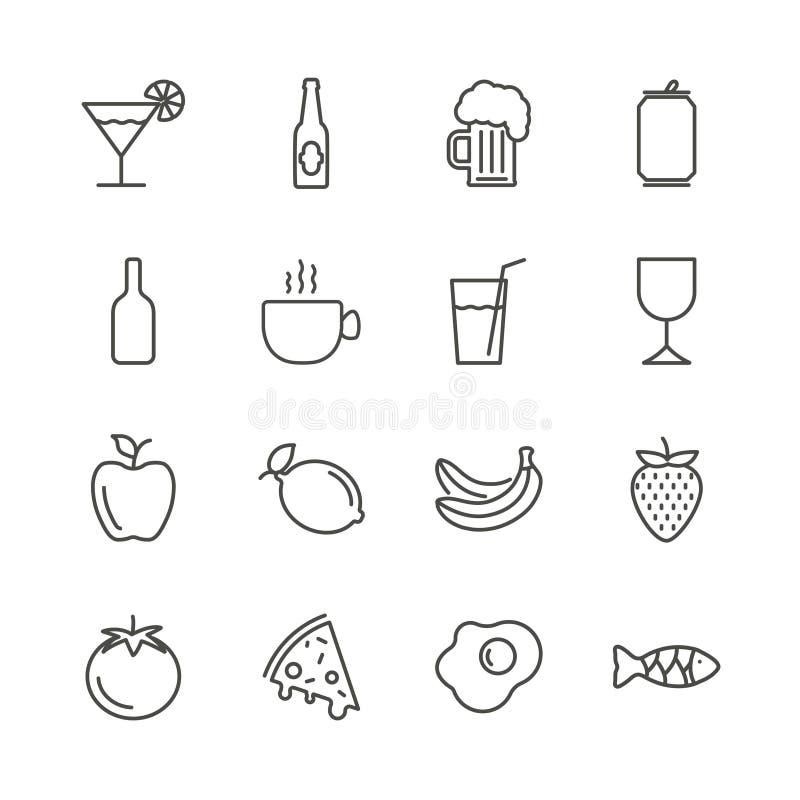 Jedzenia i napoju ikony ustalony wektor Konturu lunchu restauracyjna kolekcja Modny mieszkanie znaka projekt cienki ilustracja wektor