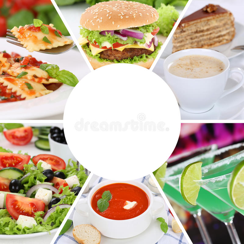 Jedzenia i napoju menu inkasowy kolaż je łasowanie napojów posiłek ja zdjęcie stock