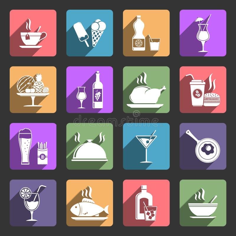 Jedzenia i napoju mieszkania ikony ilustracji