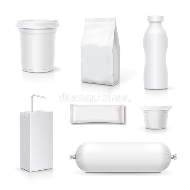 Jedzenia i napoju puste miejsce pakuje set Przekąska szablonu jucznych produktów realistyczny wektor ilustracja wektor
