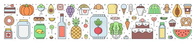 Jedzenia i napoju sklepu spożywczego sklep zarysowywa horyzontalną ilustrację ilustracja wektor