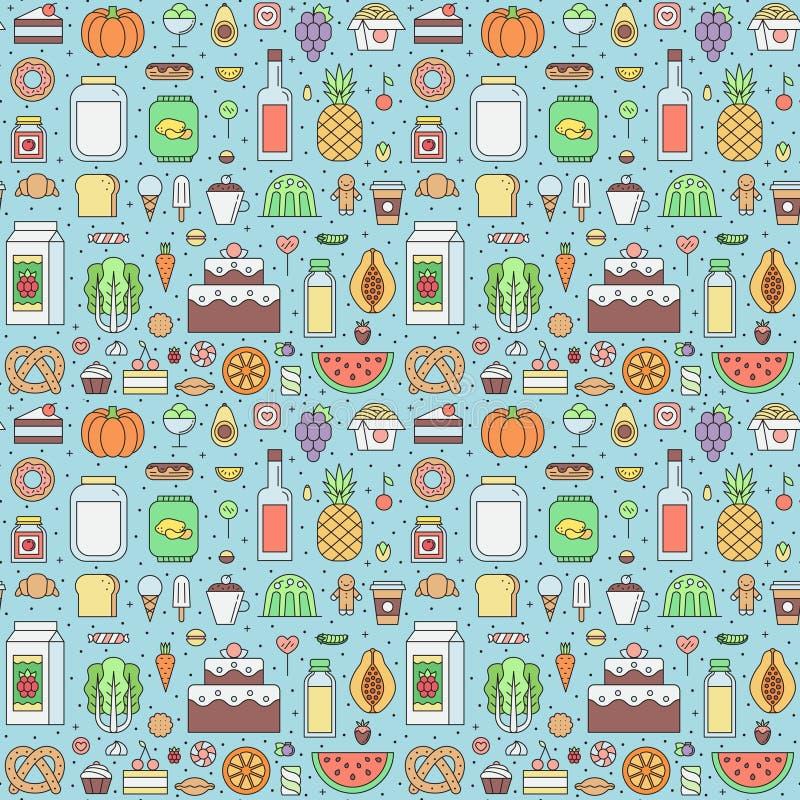Jedzenia i napoju sklepu spożywczego sklepu konturu wektoru bezszwowy wzór ilustracja wektor