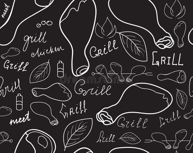 Jedzenia i napoju wektorowa bezszwowa tekstura z ilustracji