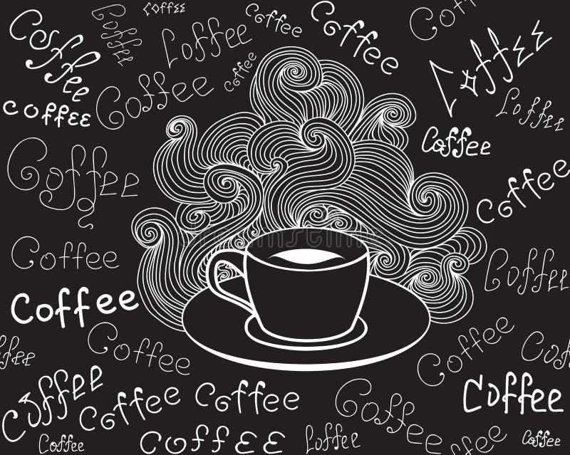Jedzenia i napoju wektorowy bezszwowy wzór z filiżanką i słowa Kawowy ręcznie pisany kredą na popielatej desce ilustracja wektor