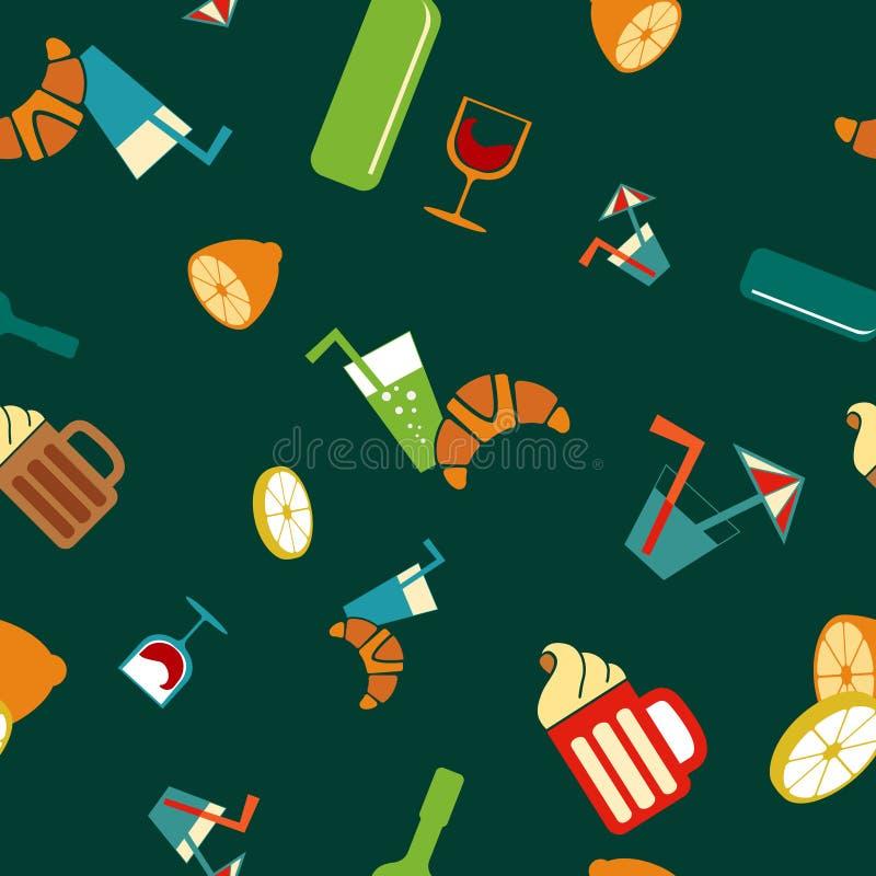 Jedzenia i napoju wektoru bezszwowy wzór ilustracja wektor