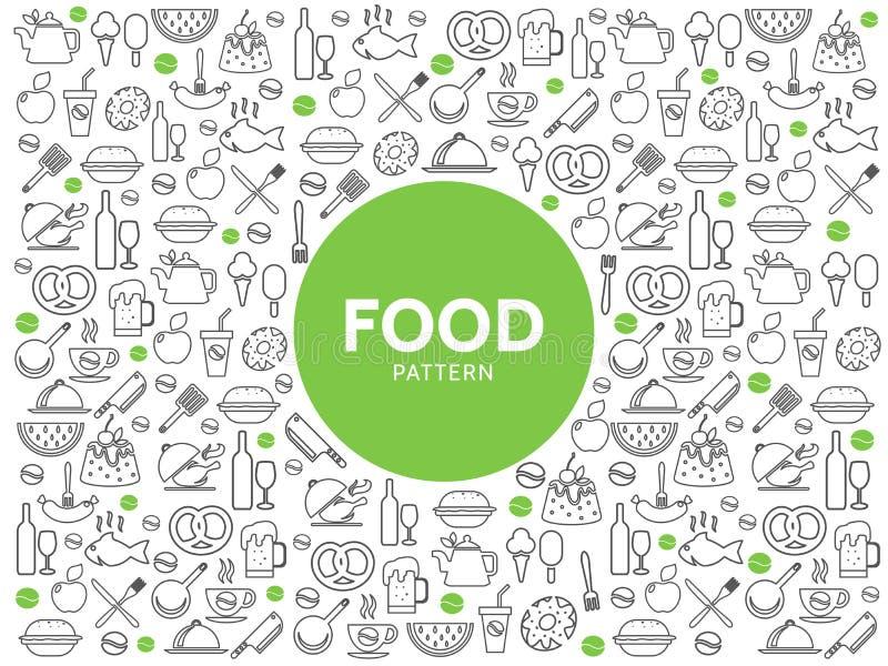 Jedzenia i napoju wzór ilustracji