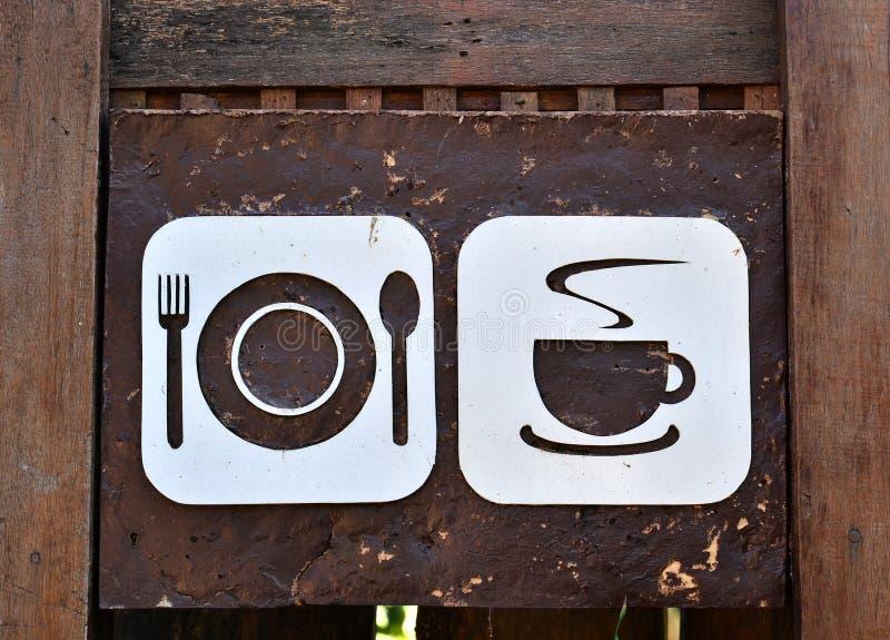Jedzenia i napoju znaka deska obraz royalty free