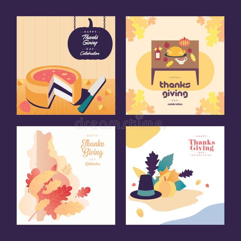 Jedzenia i ornamentu dziękczynienia dnia ilustracji tło royalty ilustracja