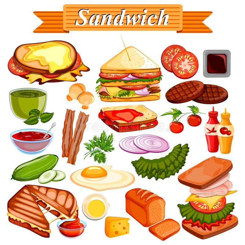 Jedzenia i pikantności składnik dla kanapki royalty ilustracja