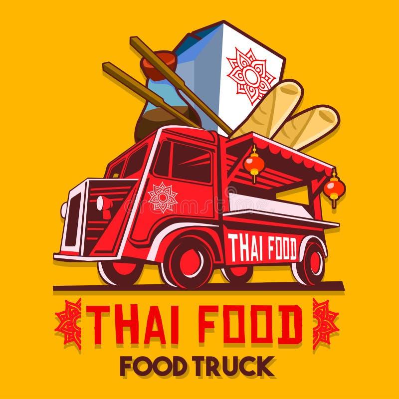 Jedzenia jedzenia postu Doręczeniowej usługa wektoru Ciężarowy Tajlandzki logo ilustracji