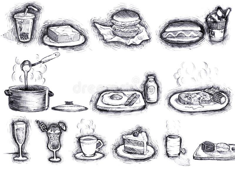 jedzenia nakreślenie ilustracji