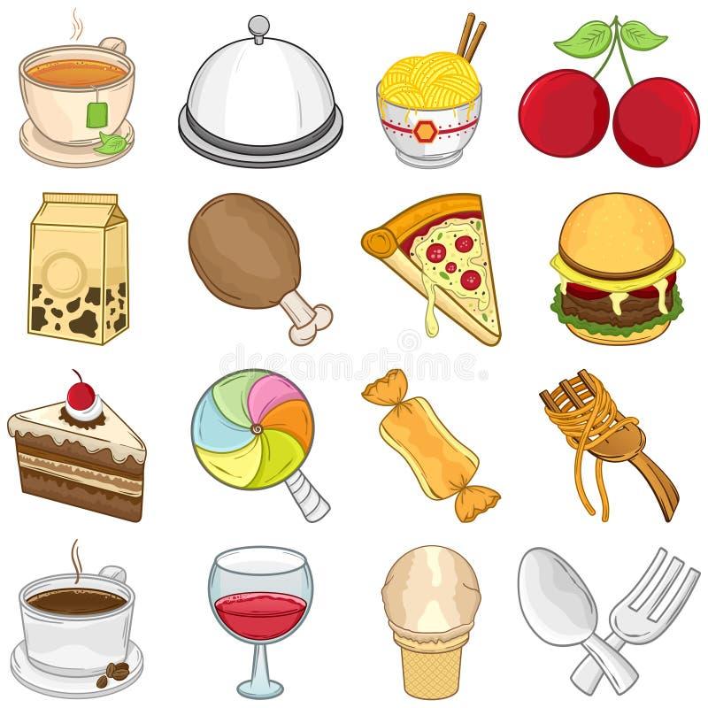 Jedzenia & napojów ikony - ilustracja ilustracji