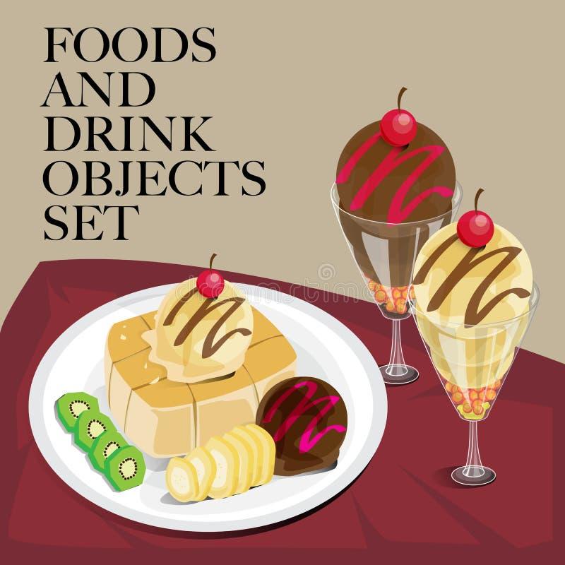 Jedzenia & napoju grzanki ustalony lody ilustracja wektor
