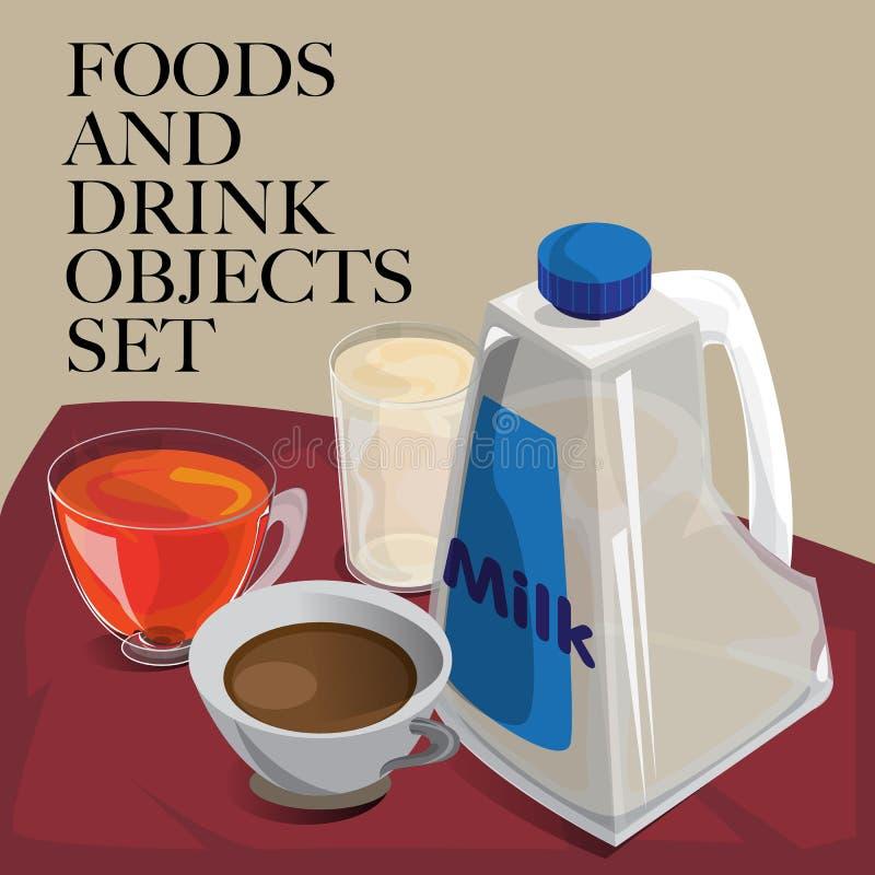Jedzenia & napoju herbaty ustalony kawowy mleko ilustracja wektor