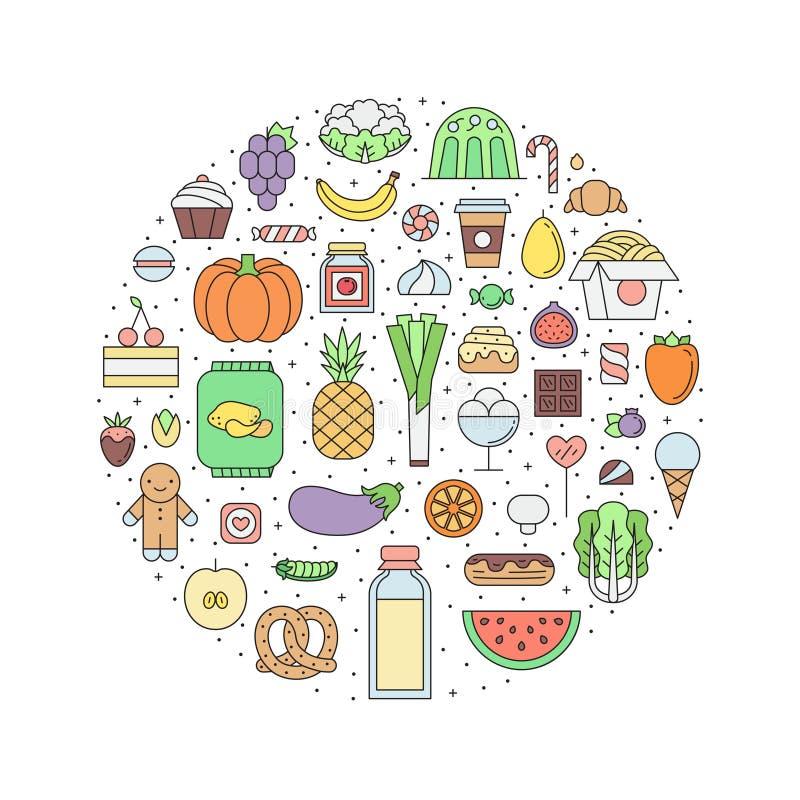 Jedzenia & napoju sklepu spożywczego konturu okręgu ilustracja Część jeden royalty ilustracja