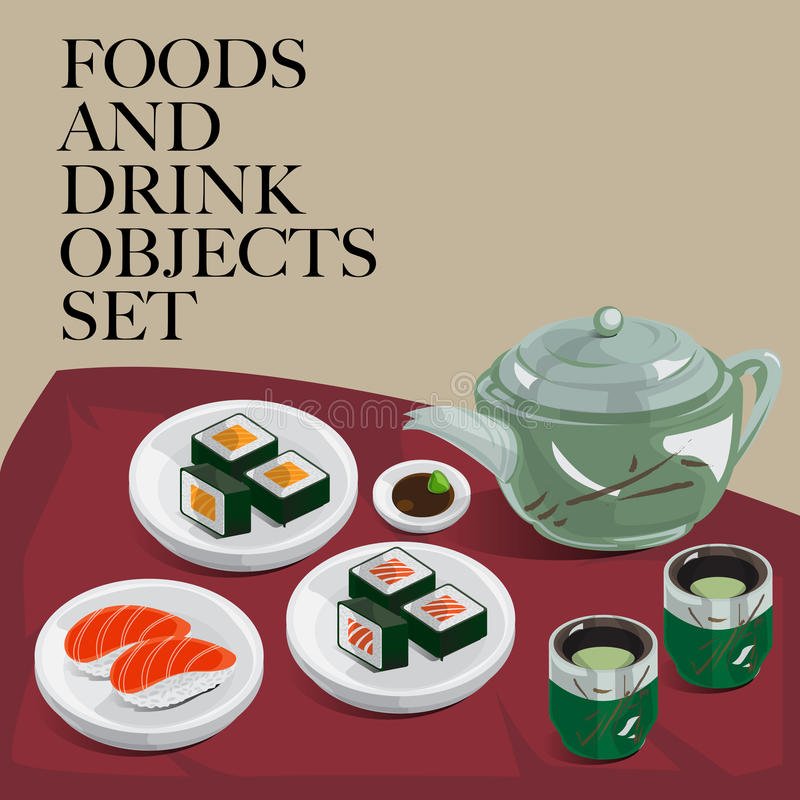 Jedzenia & napoju suszi ustalona zielona herbata ilustracja wektor