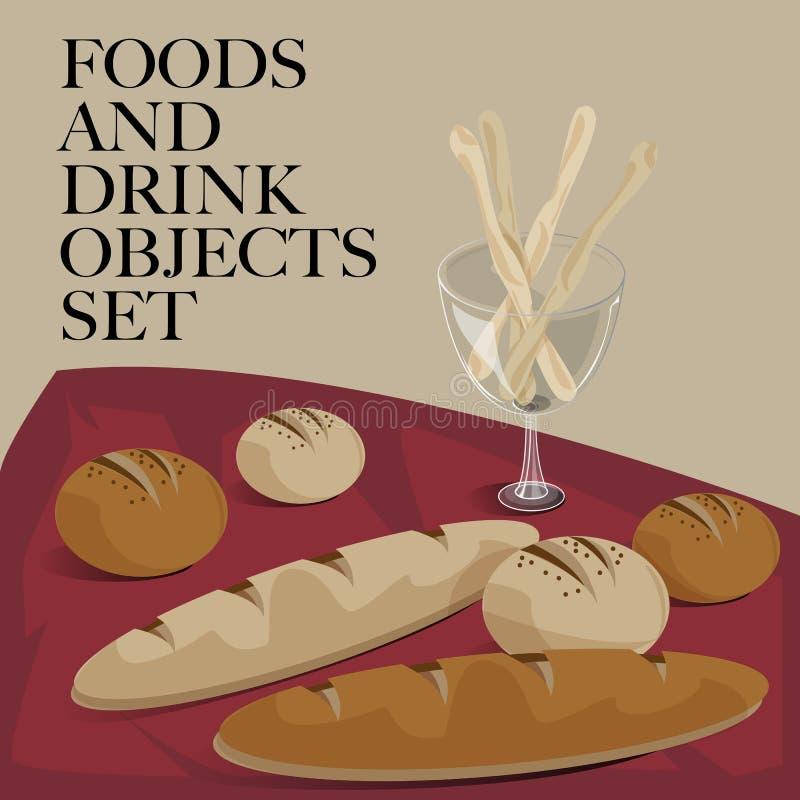 Jedzenia & napoju ustalony chleb ilustracji