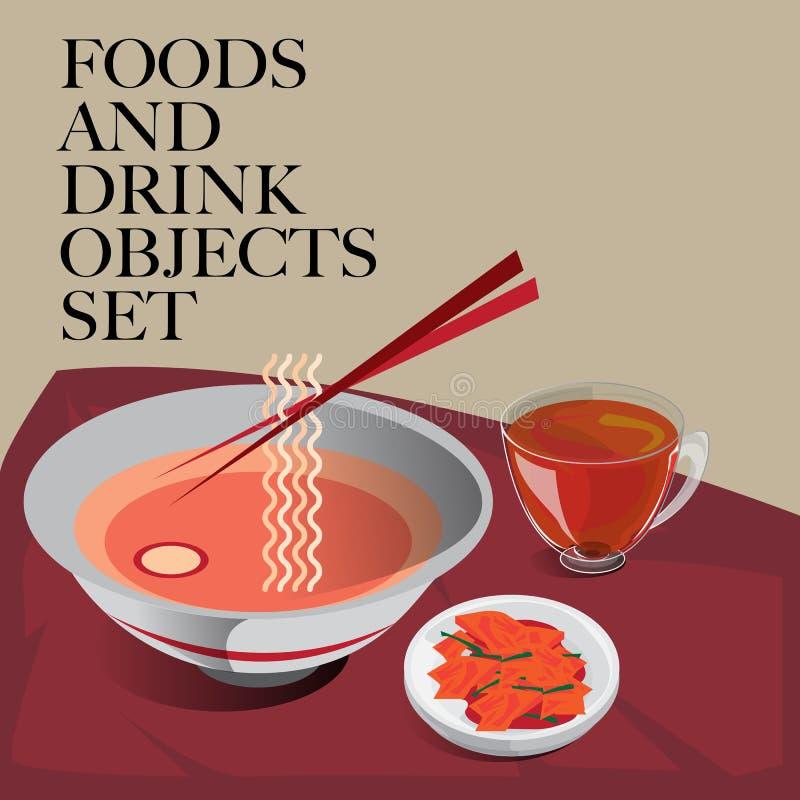 Jedzenia & napoju ustalony kluski royalty ilustracja