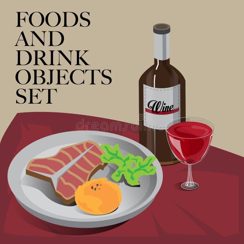 Jedzenia & napoju ustalony stek ilustracja wektor