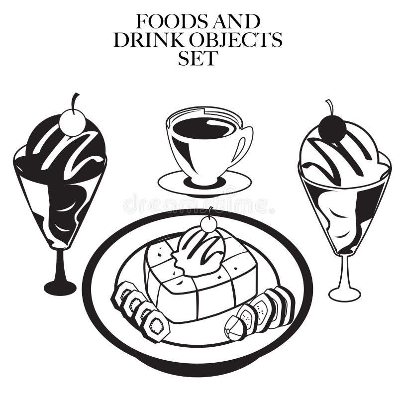 Jedzenia out kreskowy b royalty ilustracja