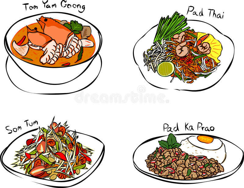 jedzenia tajlandzcy royalty ilustracja