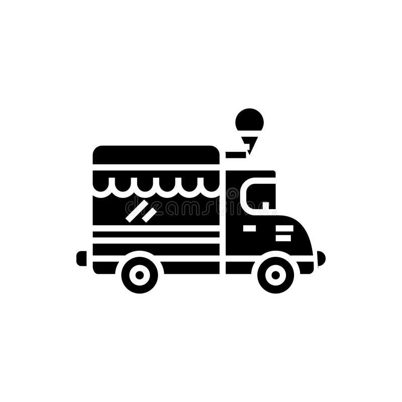 Jedzenie ślad - lody samochodowa ikona, wektorowa ilustracja, czerń znak na odosobnionym tle ilustracja wektor