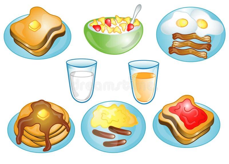 jedzenie śniadania ikony ilustracja wektor