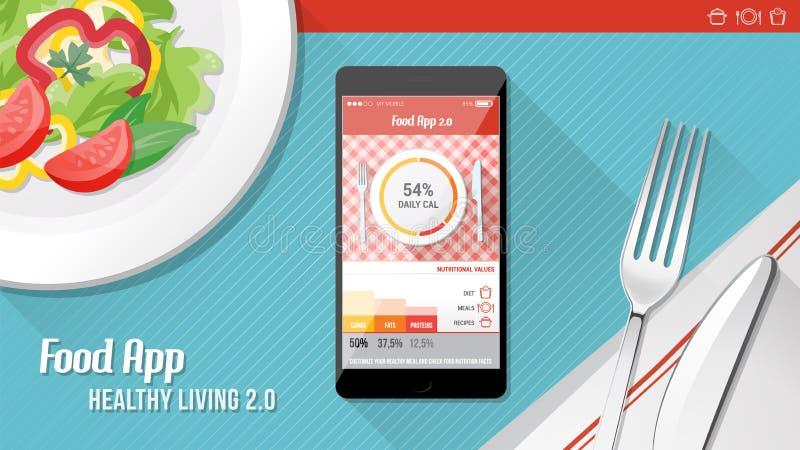 Jedzenie app royalty ilustracja