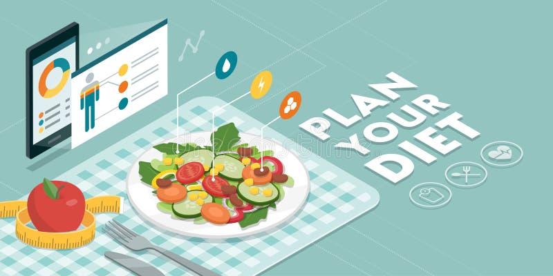 Jedzenie app i dieta ilustracja wektor