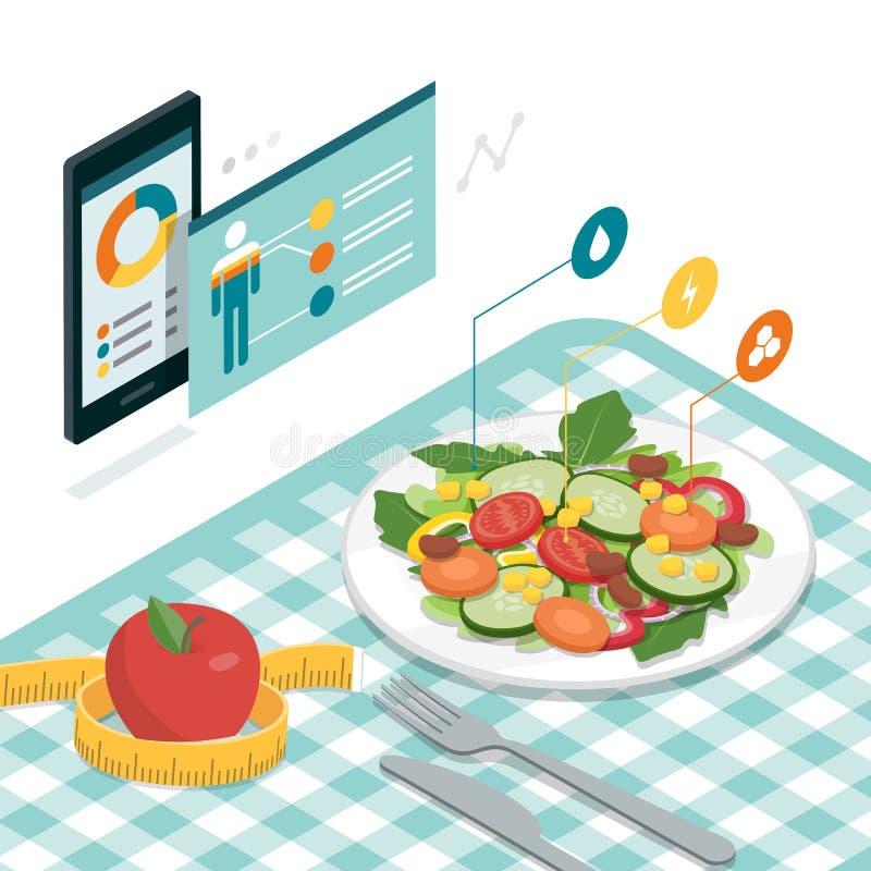 Jedzenie app i dieta royalty ilustracja