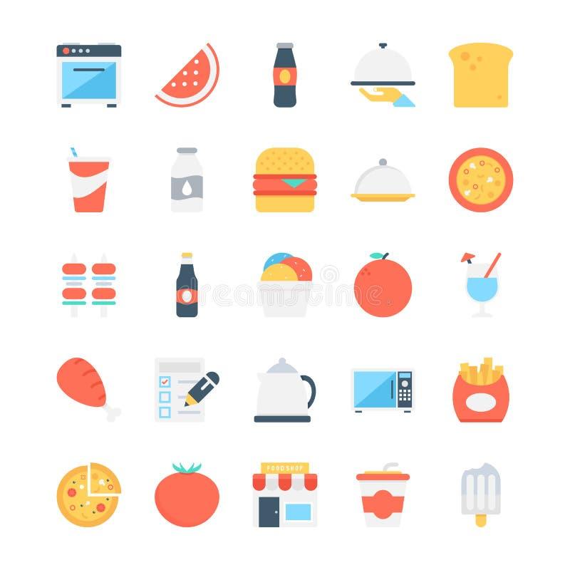 Jedzenie Barwione Wektorowe ikony 7 royalty ilustracja