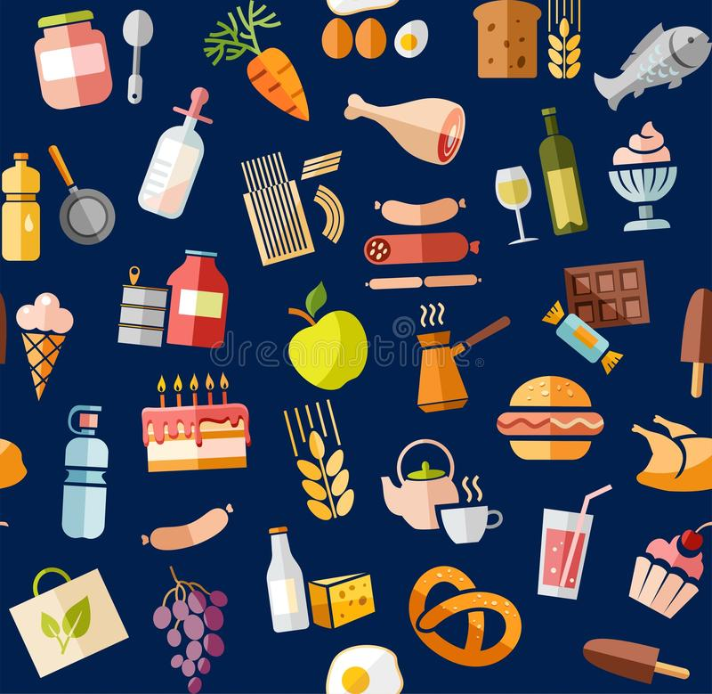 Jedzenie, bezszwowy wzór, kolor, błękit, sklep spożywczy, wektor ilustracja wektor