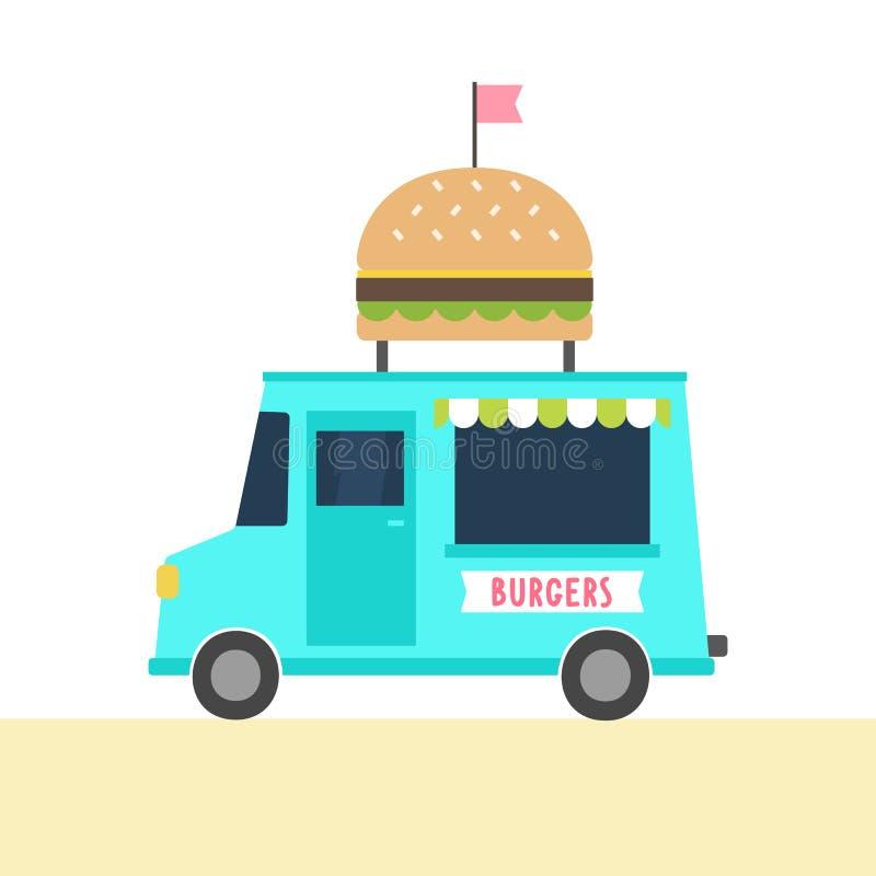 Jedzenie ciężarówka z hamburgerami ilustracja wektor