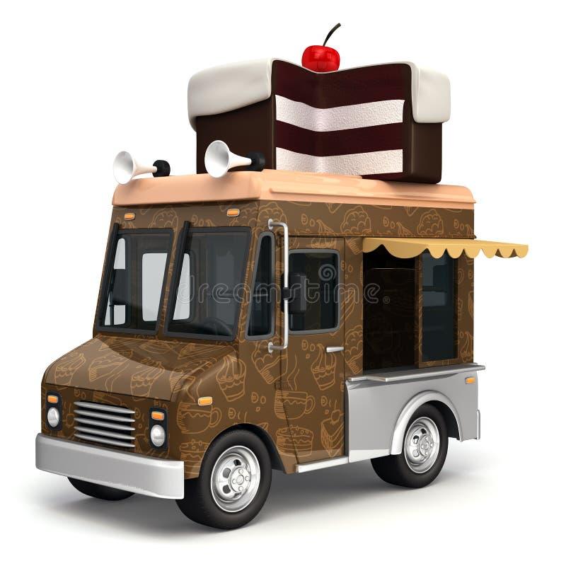 Jedzenie ciężarówka z tortem ilustracja wektor