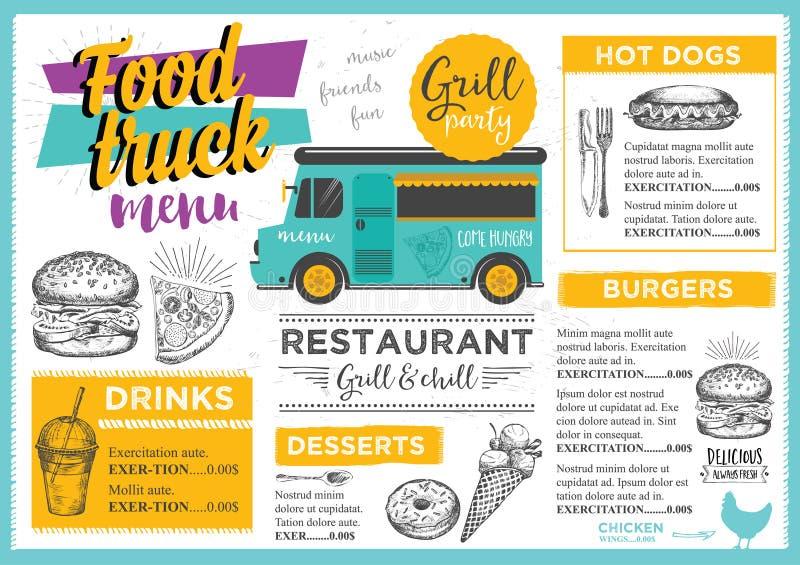 Jedzenie ciężarówki przyjęcia zaproszenie Karmowy menu szablonu projekt royalty ilustracja