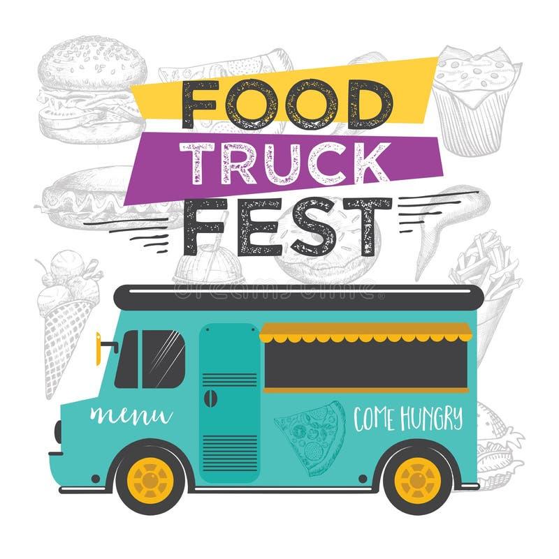 Jedzenie ciężarówki przyjęcia zaproszenie Karmowy menu szablonu projekt Karmowa komarnica royalty ilustracja
