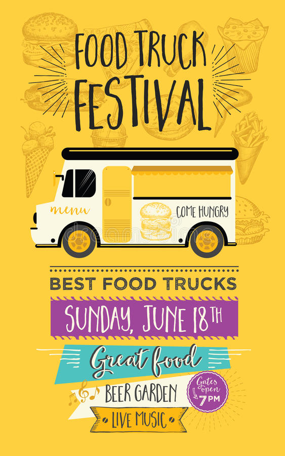 Jedzenie ciężarówki przyjęcia zaproszenie Karmowy menu szablonu projekt Karmowa komarnica ilustracja wektor