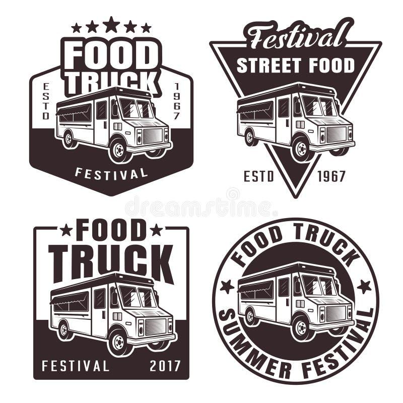 Jedzenie ciężarówki set cztery czarnego wektorowego emblemata ilustracji