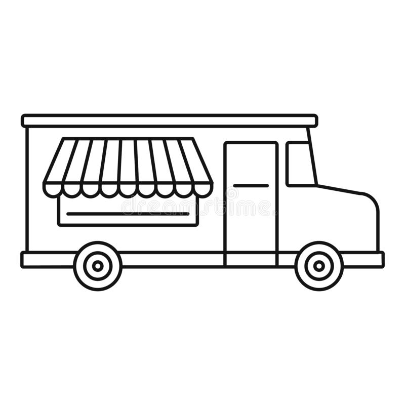 Jedzenie ciężarowa ikona, konturu styl royalty ilustracja