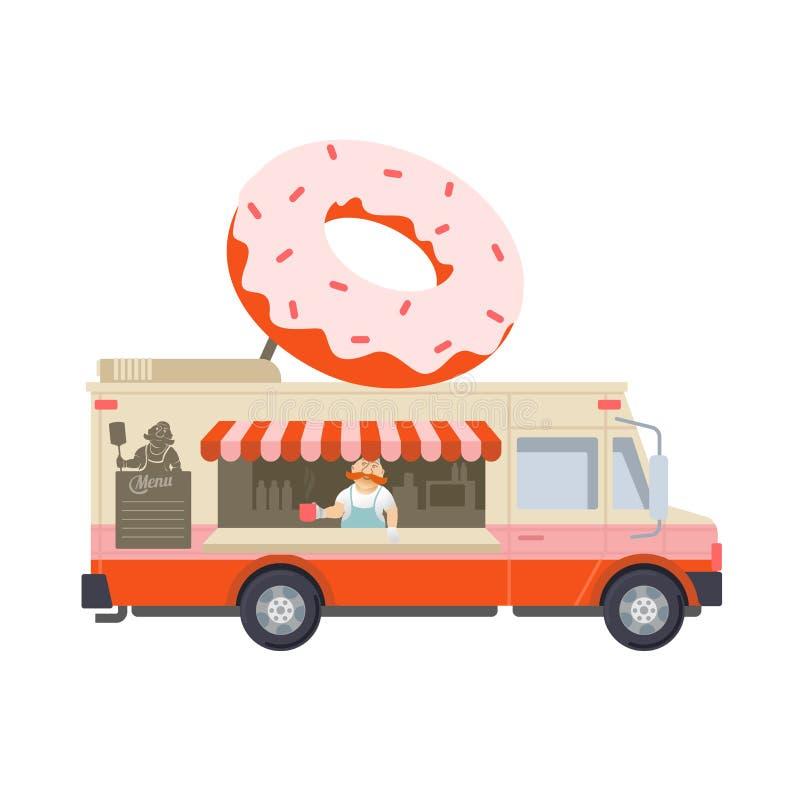 Jedzenie ciężarowa płaska ilustracja royalty ilustracja