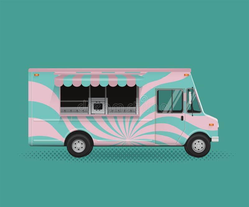 Jedzenie Ciężarowa wektorowa ilustracja Plakatowy ulotka szablon royalty ilustracja